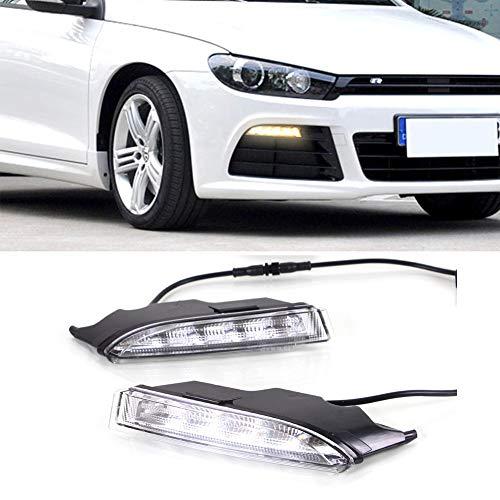 IIWOJ Nebelscheinwerfer DRL Tagfahrlicht LED Blinkerleuchte Kompatibel Mit VW Scirocco R 2010 2011 2012 2013 2014,White and Yellow