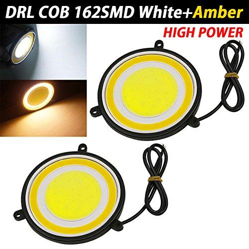 TABEN Lot de 2 feux de commutation LED COB LED LED LED double couleur Blanc ambré