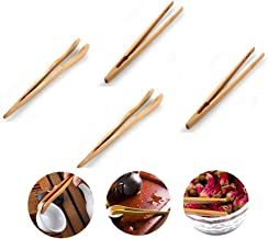 Bamboo Wood Tea Tongs Food Toast Bacon Sugar Tweezer Salad Clip Cooking Utensil New Kitchen Tool (4pcs)