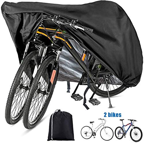 Szblnsm Bike Cover Waterproof Outdoor Bicycle Cover for 1 or 2, 420D Heavy Duty Ripstop Material, Waterproof, Anti-UV-Offers Constant Protection for All Types of Bicycles All Through The 4 Seasons