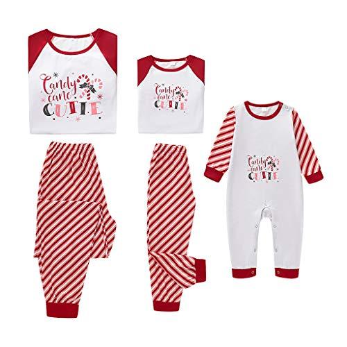 Fenverk Weihnachten Familie Outfit Set Matching Lange Ärmel Bluse + Plaid Lange Hosen Pyjama Set Xmas Schlafanzüge Nachtwäsche Feiertag Suit für Dad Mom Kinder Mädchen Jungen (D,Baby : 6-9 Monate)