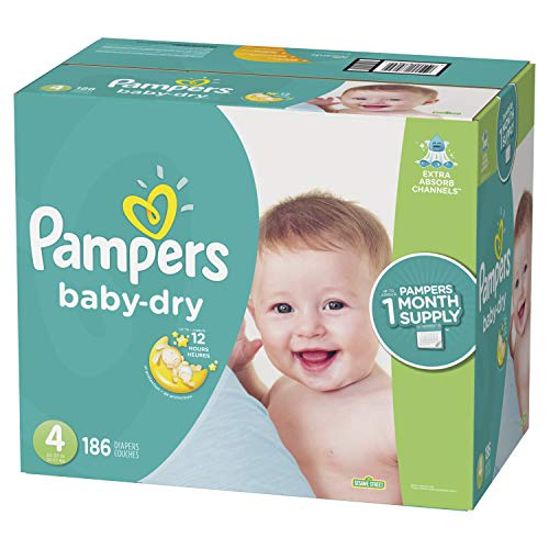 Pampers Baby Dry Disposable Diapers, Size 4,186 Count