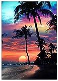 Diy 5D Diamante Pintura Completa Redonda Diamante Bordado Puesta De Sol Playa Árbol De Coco Regalo De Navidad Mosaico Decoración De Muebles 30X40Cm