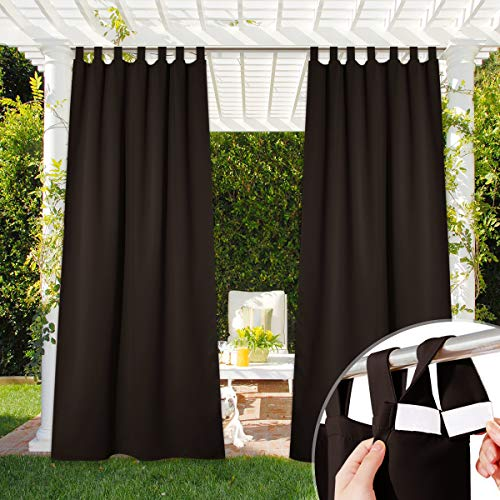 NICETOWN Weatherproof Patio Outdoor Curtain Blackout, Self-Stick Tab Top Heavyweight Drape Water-Proof Privacy Panel for Indoor & Outdoor Divider, 1 Panel, W52 x L84, Toffee Brown