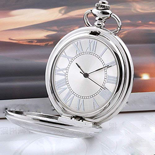 LYMUP Tradicional de Plata clásico tirón Retro Transparente Reloj Masculino y Femenino Estudiantes Hueco del Reloj de Bolsillo mecánico,Vapor
