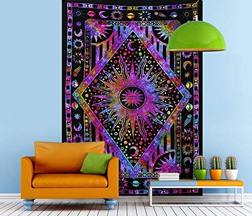 Psychedelic Celestial Sun Moon Tapestry Planet Bohemian Tapestry Wall Hanging Dorm Decor Boho Tapestry Hippie Hippy Tapestry (Purple Multi, 42' x 30')