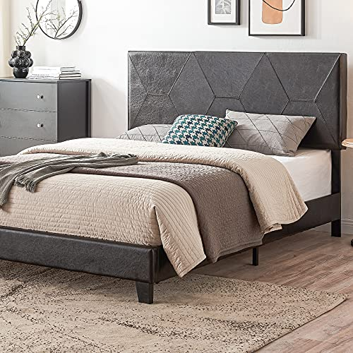 Queen Size Bed Frame Platform Bed Frame with Black Diamond Pattern PU Headboard, Mattress Foundation with Rhombic Faux Leather Headboard, Upholstered Modern Bed Frame, No Box Spring Needed