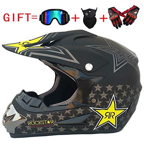 Downhill-Helm für Erwachsene Geschenke Schutzbrillenmaske Handschuhe BMX MX ATV DH Rennrad-Integralhelm, D, M (56 ~ 57) CM