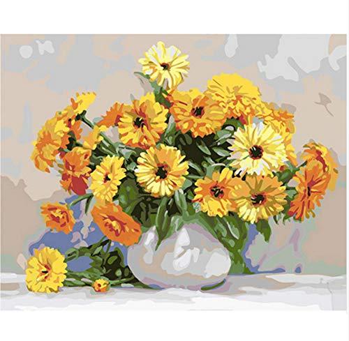 Vanzelu Gele bloem DIY schilderen op cijfers Moderne muurkunst afbeelding uniek geschenk met doos verzenden voor wooncultuur 40x50cm geen lijst