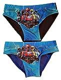 Conjunto de 2 Braguitas de baño Power Rangers Azul y Negro, con ilustración roja, Amarilla, Morada, Azul y Negra, para niños (140)