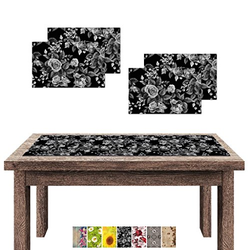 Arsvita Camino de Mesa/Mesa Sets Impresión Fotográfica, poliéster, Schwarze Rose, Tischläufer + 4 Tischsets