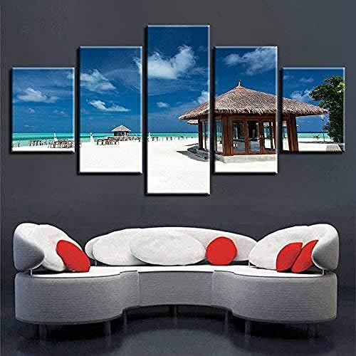 5 aufeinanderfolgende Gemälde modulare Leinwand Bilder Wandkunst 5 Stück Holz Pavillon blauer Himmel weiße Wolke seelandschaft Malerei Dekor moderne Werke Drucke-Outer frame