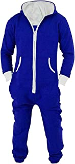 XiaoTianXinMen XTX Men's Full-Zip Jumpsuits Hoodie Contrast One Piece Pajamas Set Sleepwear Loungewear