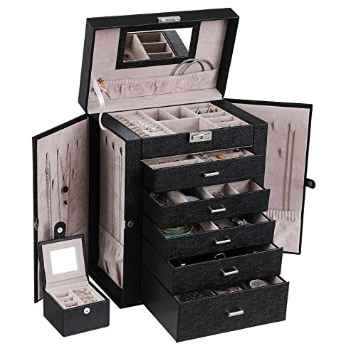 ANWBROAD 6 Tier Huge Jewelry Box Jewelry Organizer Box Display Storage Case Holder with Lock Mirror Girls Jewelry Box for Earrings Rings Necklaces Bracelets Earrings Gift Black Faux Leather UJJB004B