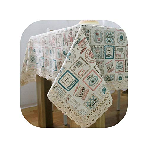 Tablecloths Table Cloth Cotton Linen Lace Tablecloth Rectangular Tablecloths Dining Table Cover Obrus Tafelkleed Mantel Mesa Nappe,Print,140140Cm