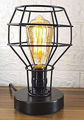 Industrial Table Lamp, E26 Edison Vintage Table Lamp Base, Industrial Vintage Desk Lamp with Metal Shade, Plug in Cord On/Off Switch - Bulb Included, Vintage Nightstand Lamp for Living Room Bedroom
