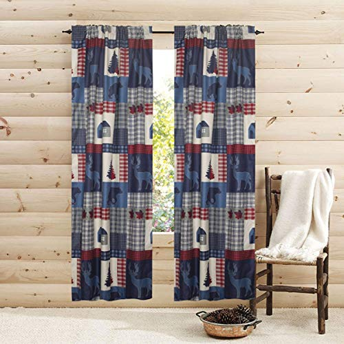 84-in. Rustic Americana Window Curtains 2-Panel Pair Set Rod Pocket Privacy Drapes Cabin Lodge Bear Deer Red Blue