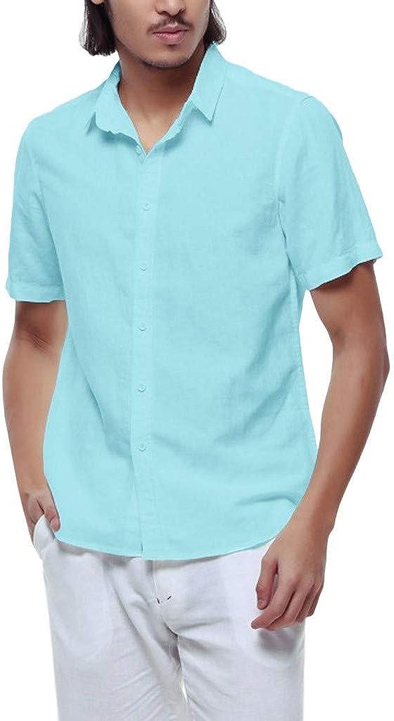 kemilove Men's Short Sleeve Linen Shirts Cotton Short Sleeve Button Down Shirts Regular Fit Casual Beach Lapel Shirt