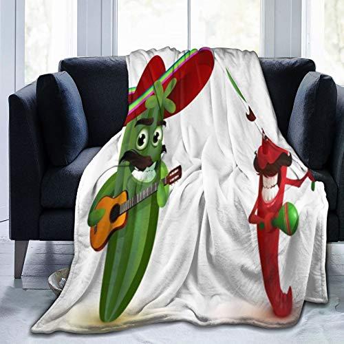 HARXISE Manta de Franela Suave,Caricatura,Tocar la Guitarra,con,Chile,Divertido,Cama de Camping para sofá 153x127cm