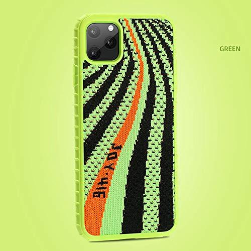 Alvyu Für iPhone 11 pro Fall, [Yeezy 350] gestrickte Stoff-Abdeckung mit harten PC, Anti-Rutsch und stoßabsorbierendes Schutz Ultra Slim Phone Case für iPhone 11 pro 5.8 Zoll,Grün