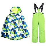 HSYD Kinder Snowboard Skihose/Jacke, Skianzug 2 Stück Set Für Junge Mädchen, Ski Outfit Snowboard Snowsuit Jumpsuit Sets,Grün,12