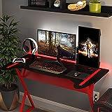 Mesa Escrivaninha Para Computador Gamer Design Metal Modelo Controller Preto com Vermelho