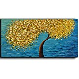 YaSheng Art - Yellow Tree Abstract Painting 3D Oil Painting Hand Painted On Canvas Abstract Artwork picture Wall Art for living room office Decoration (24x48inch)