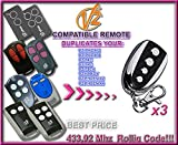 3 X V2 TSC2, TSC4, TRC2, TRC4 compatible mandos a destancia, 433,92Mhz rolling code CLONES. 3 piezas de 4-canales CLON transmisores Al mejor precio!!!