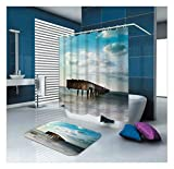 AmDxD Waschbar Polyester Duschvorhang und Badezimmer Teppich Strand Meer Design Digitaldruck Badewannenvorhang Badezimmermatte Bad Vorhang mit Duschvorhangringen für Badezimmer Blau 150x200CM