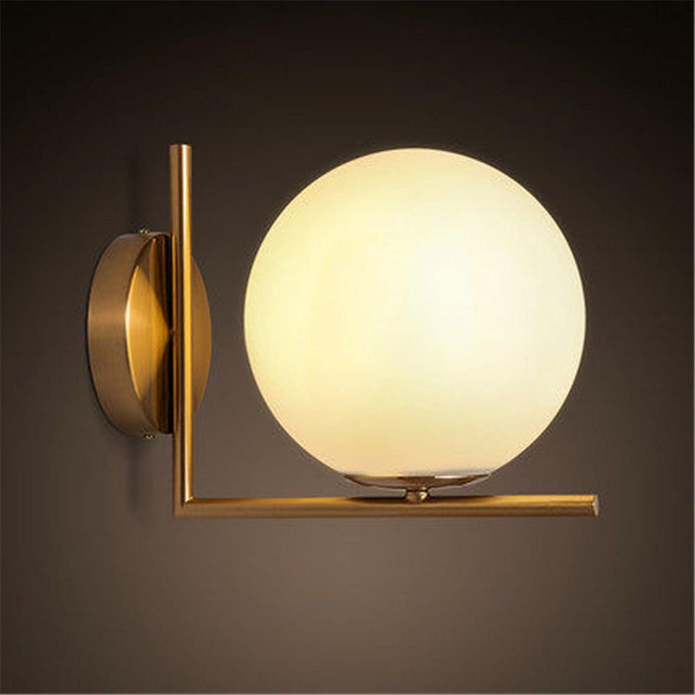 StiefelU LED Wandleuchte nach oben und unten Wandleuchten Schlafzimmer Lampen Wohnzimmer eingerichtet mit schmiedeeisernen verGoldet Glas orbs LED-Beleuchtung Wandleuchten, Weißlight