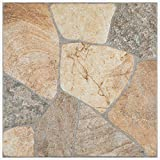 SomerTile FCG18ERS Albe Porcelain Floor and Wall Tile, 17.375' x 17.375', Rustico, Grey/Beige/Brown