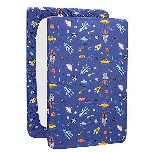 UOMNY Playard Sheets,Pack and Play Sheet Fitted Playard Mattress Sheet,100% Natural Cotton Mini Portable Crib Sheets for Boys and Girls 1 Pack Blue Space Pack n Play Playard Sheet