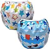 Luxja Bañador Pañal, Bañador Bebé, Pañales Bañadores para Niños(0-3 años), Pañal de Baño Reutilizable, Pañales Bañadores de Tela, Pañal de Aprendizaje,Playa + Estrellas de colores
