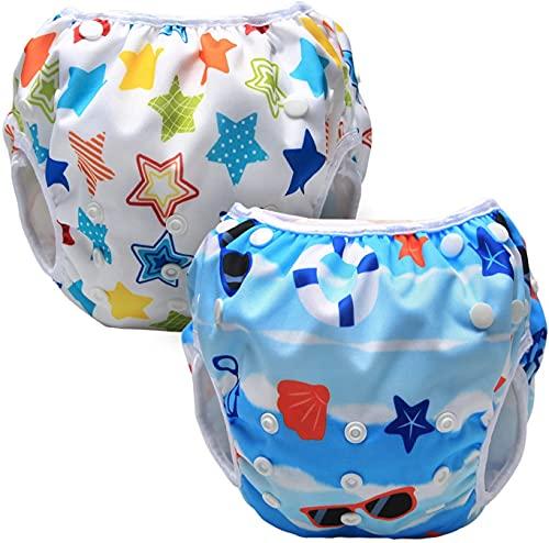 Luxja Riutilizzabile Pannolini da Nuoto (Confezione da 2), Impermeabile Pannolino Piscina, Costume Pannolino Neonato (0-3 Anni), Stelle Colorate + Spiaggia