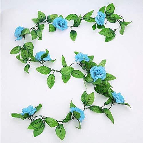RAQ Roses Vine met groene blaadjes bruiloftsdecoratie blad hangende slinger vervalste roos vine China blauw