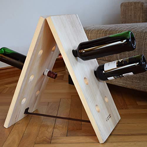 Exner Weinregal DINETTE Flaschen-Regal für 12 Flaschen Wein | Naturholz | Holz Handarbeit