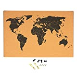 Cork Board Map of The World - Wall Mount Bulletin Board with Detailed World Map, Black Printed Frameless World Travel Map with Pins, 23.5 x 0.75 x 15.75 inches