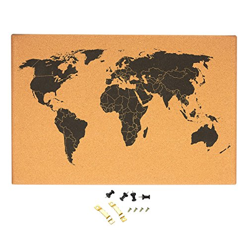 Juvale Cork Board World Map with Push Pins and Screws (23.5 x 0.75 x 15.75 Inches)