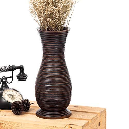 Leewadee Kleine Bodenvase für Dekozweige hohe Standvase Design Holzvase, 15x41 cm, Mangoholz, braun