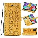 ZTOFERA Flip Hülle für Samsung Galaxy A51, Süße Katze H& Muster Brieftasche mit [Magnetverschluss] [Kartenfächer] [Ständer] [Handschlaufe], Slim Handyhülle für Samsung A51 - Gelb