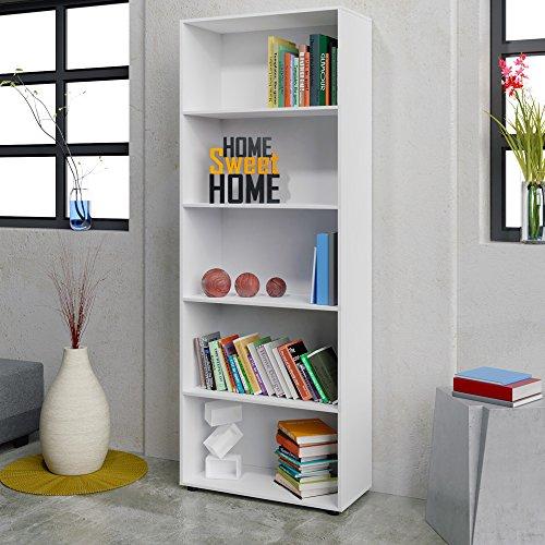 Standregal Bücherregal 192cm Wandregal Aufbewahrungsregal Holz Regal 5 Fächer Typ 3 - Farbe weiß