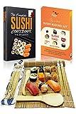 Kit para Hacer Sushi – Sushi Maker Completo Set de Bambú Roller Mat - 2 Esteras, 5 Pares de Palillos, Cuchillo para Extender y Tutoriales eBook