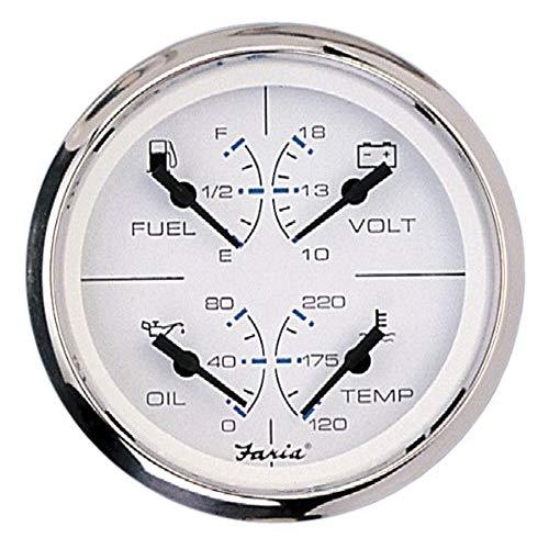 Faria 33851 Chesapeake Niveau de carburant multifonction en acier inoxydable 80 psi Température de l'eau 80 à 121 °C Voltmètre 10 à 16 V CC Blanc