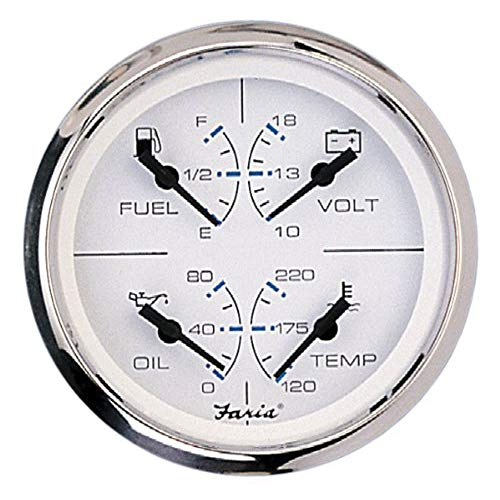 Faria 33851 Chesapeake Stainless Steel Multifunction Fuel Level/Oil PSI (80 PSI)/Water Temp (100-250°F)/Voltmeter (10-16 VDC) - 4', White