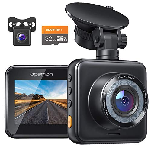 APEMAN Dual Lens Dash Cam for Cars Front and Rear with Night Vision and SD Card Included, 1080P FHD Mini...