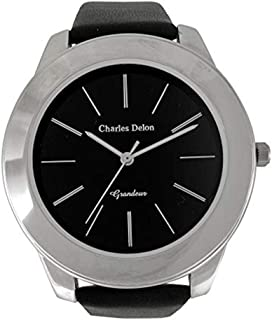 Charles Delon Mens Quartz Watch, Analog Display and Leather Strap 5119 GPBB