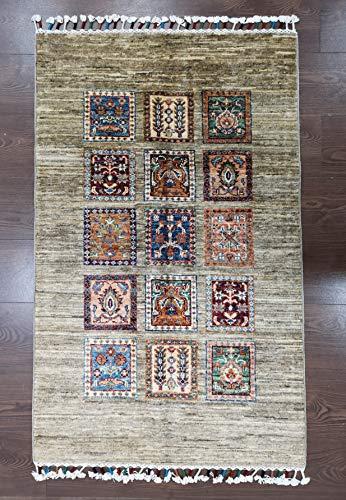 Alfombra de lana afgana, 100% tejida a mano (45RCM0013)