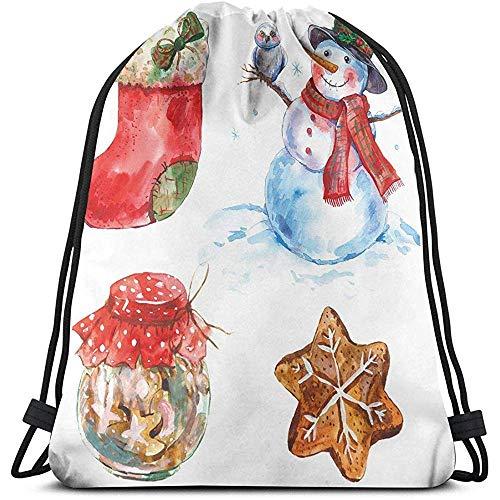 jenny-shop Gedruckte Drawstring-Rucksack-Taschen, Aquarell-Weihnachtsikonen-Schneemann mit Eulen-Socken-Lebkuchen-Plätzchen