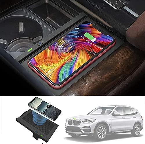QXIAO Cargador Inalámbrico de Coche para BMW X5 2014-2018, X6 2015-2019 Panel de Accesorios de Consola Central 10W Qi Cargador de Teléfono de Carga Rápida Estera para BMW F15 F16 Accesorios