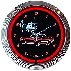 Corvette Sting Ray Neon Clock